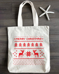 Merry Christmas Canvas Tote Bags w/Gusset Holiday Totes for Gifts