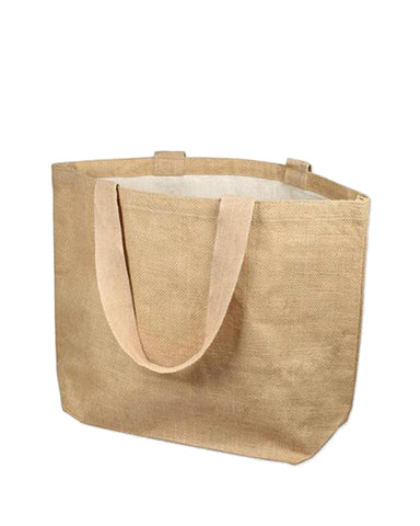 48 ct Daily Use Deluxe Jute Burlap Tote Bags with Cotton Interior - By Case
