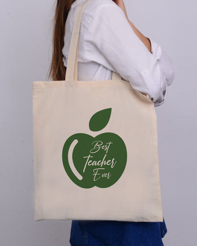 Green Apple Customizable Tote Bag- Teacher's Tote Bags