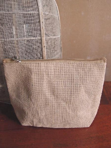 Zippered Jute / Canvas Pouch Cosmetic Bag with Gusset