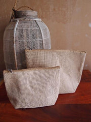 large Zippered Jute Canvas Pouch Cosmetic Bag with Gusset