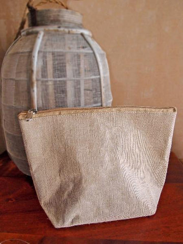Eco Friendly Zippered Canvas Pouch Cosmetic Bag Large