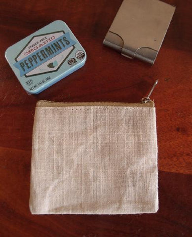 Mini Flat Zippered Jute Blend Canvas Pouch TM693