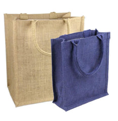 Small Burlap Tote Bag - Jute Book Bags with Full Gusset