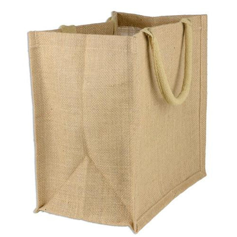 48 ct Square Burlap Bags - Wholesale Jute Tote Bags W/Deep Full Gusset - By Case