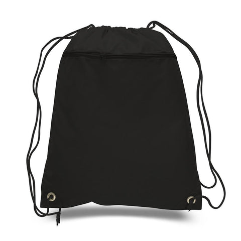 216 ct Promotional Polyester Drawstring Bags with Front Pocket - By Case