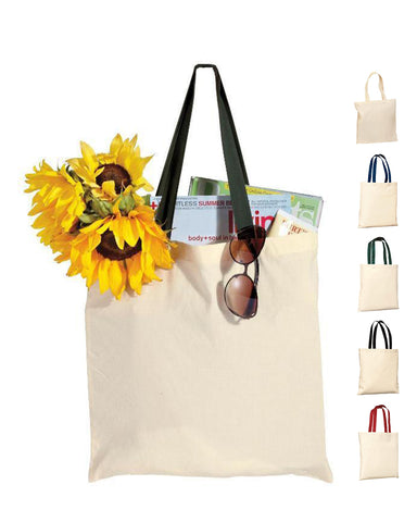 240 ct 100% Cotton Value Tote Bag with Contrast Handles - By Case