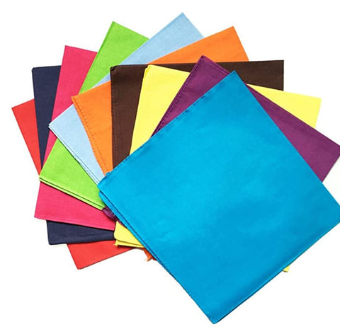 120 ct 100% Cotton Solid Color Bandana - By Dozen