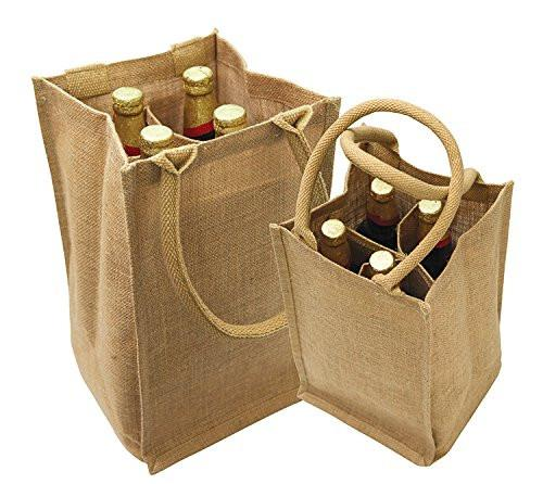 Natural Jute Wine Bags Burlap Tote With Removable Dividers