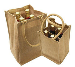 Natural Jute Wine Bags / Burlap Wine Tote Bags with Removable Dividers