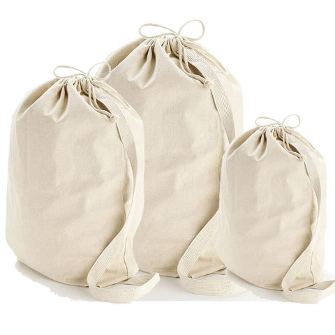 Wholesale Heavy Canvas Laundry Bags W/Shoulder Strap (Small-Medium-Large)
