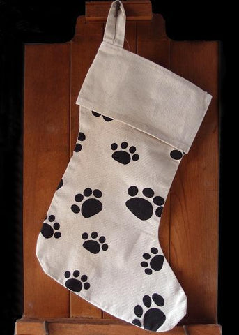 "17"" Bulk Canvas Christmas Stocking with Paw Design"