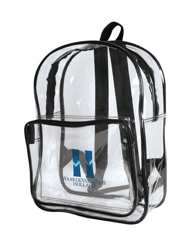 6 ct Multi-Purpose Clear Backpack W/ Front Pocket - Pack of 6