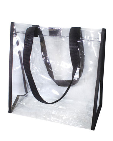 6 ct Clear Stadium Tote Bag With Small Square Hook and Loop Closure - Pack of 6