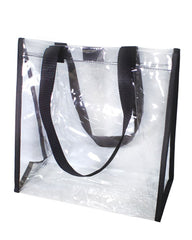 clear tote bag main compartment velcro closure