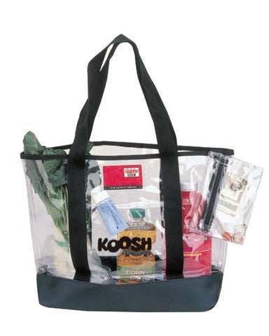 36 ct Transparent Clear Grocery Large Tote Bag with Clear Zippered Pouch - By Case
