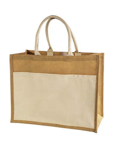 48 ct Easy-to-Decorate Jute Tote Bags with Canvas Front Pocket - By Case