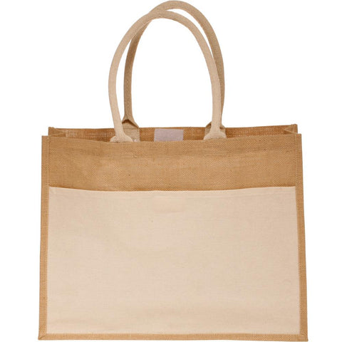 Easy-to-Decorate Jute Tote Bags with Canvas Front Pocket - TJ314