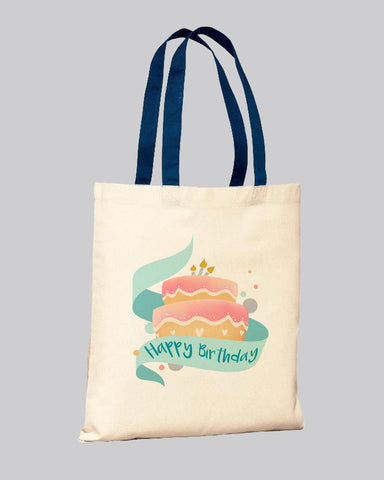 Navy/Natural Color Handle Customized Tote Bags - Promo Logo Tote Bags Two Tone
