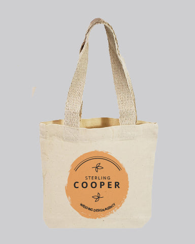 "Customized 8"" Mini Cotton Canvas Gift Tote Bags  - Gift Tote Bags With Your Logo - TC208"
