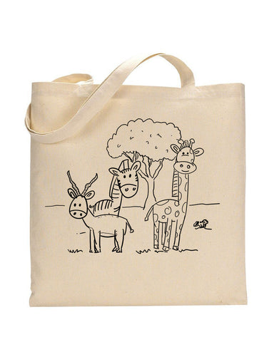 Black Color Lawn Tote Bag (Advance Level) - Coloring-Painting Bags for Kids