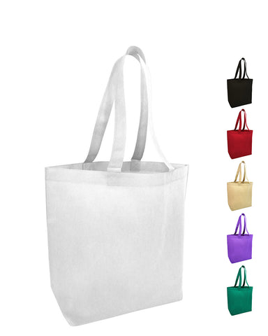 300 ct Economical Promotional Large Tote Bags with Bottom Gusset - By Case