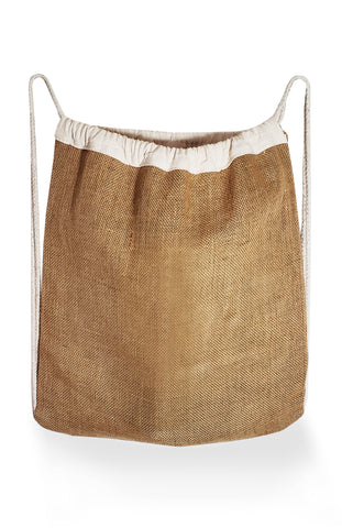 6 ct Jute Drawstring Bags / Natural Burlap Backpacks - Pack of 6