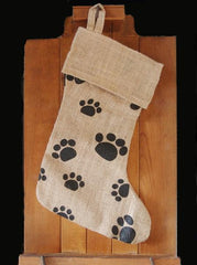 "Reusable Wholesale 16"" Christmas Stocking goodies Jute Burlap Gift Santa Sack Screen Printing Embroidery Heat Transfer Vinyl paw design printed"
