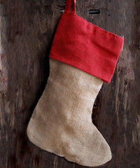 "Reusable Wholesale 16"" Christmas Stocking goodies Jute Burlap Gift Santa Sack Screen Printing Embroidery Heat Transfer Vinyl two color"