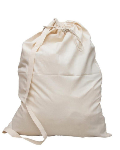 96 ct Premium Cotton Laundry Bags W/Shoulder Strap (Small-Medium-Large) - By Case
