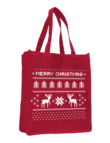 Merry Christmas Jumbo Size Heavy Canvas Tote Bag