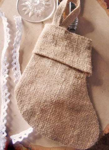 "6"" MINI Christmas Stocking Jute/Burlap - CS993"