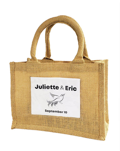 72 ct Rustic Wedding Favor Burlap Bags / Promotional Jute Totes - By Case