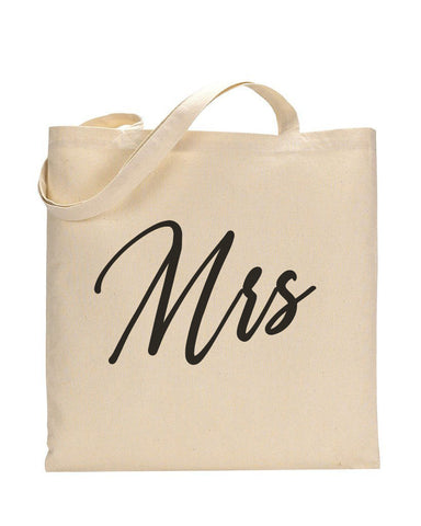 Black Color Mrs Tote Bag - Bridal-Wedding Tote Bags