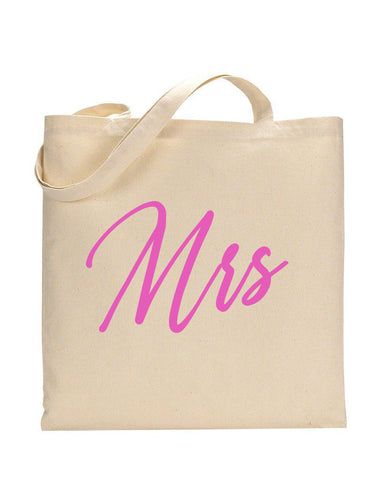 Pink Color Mrs Tote Bag - Bridal-Wedding Tote Bags