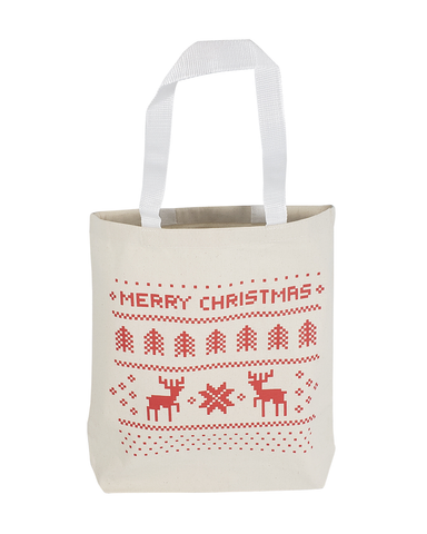 Merry Christmas Medium Canvas Tote Bags w/Gusset Holiday Totes for Gifts