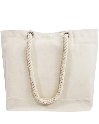 48 ct Canvas Beach Tote Bag with Fancy Rope Handles- By Case