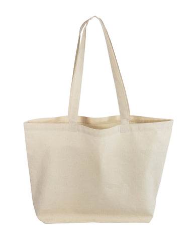 12 ct Large Size Light Canvas Tote Bag with Long Handles - By Dozen