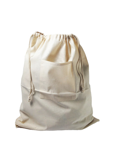 12 ct Drawstring Cotton Laundry Bag W/ Front Pocket - By Dozen