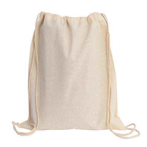 12 ct Blank 100% Cotton Drawstring Backpacks for Santa Sacks Bulk - By Dozen
