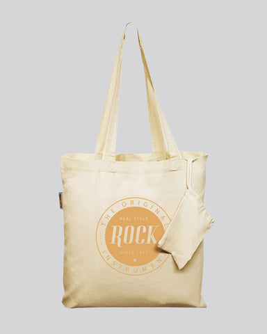 Foldable Cotton Tote Bags w/ Drawstring Pouch - Organic Foldable Tote Bags With Your Logo