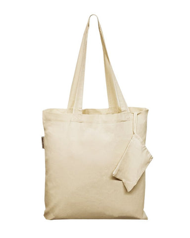 240 ct Foldable Cotton Tote Bags w/ Drawstring Pouch - By Case