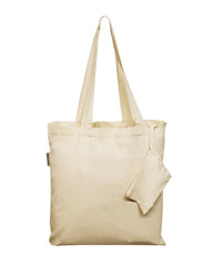Foldable Cotton Tote Bags w/ Drawstring Pouch - TB118