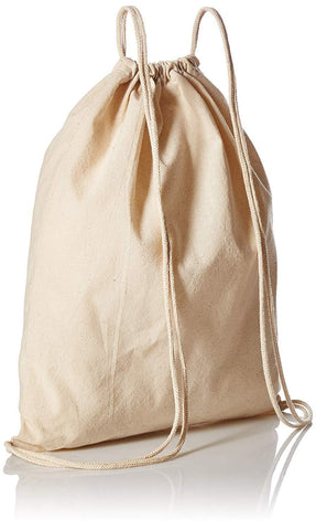 12 ct Organic Cotton Canvas Drawstring Bags / Backpacks - By Dozen