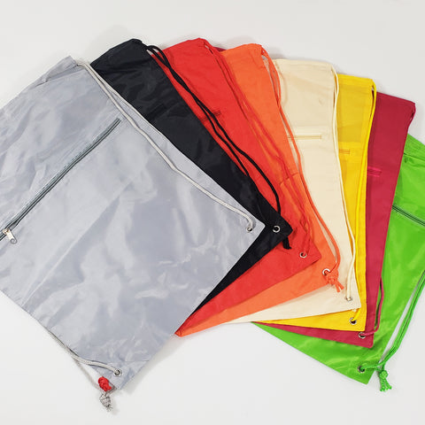 96 ct Promotional Polyester Drawstring Bags with Front Pocket -ASSORTED COLOR PACK (CLOSEOUT)