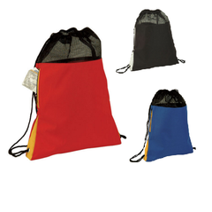 Tri Tone Polyester Mesh Drawstring Bag W/ Side Pocket