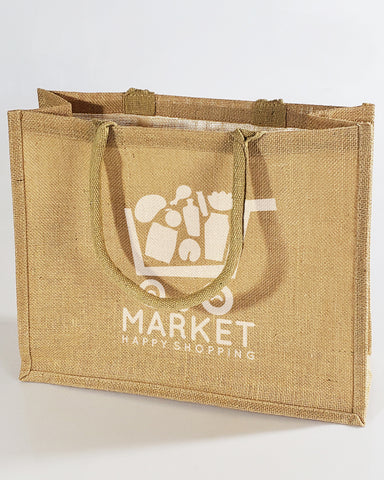 Large Burlap Shopping Tote Bags - Customized Logo Canvas Tote Bags