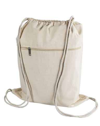 Zippered Cotton Canvas Drawstring Bag Backpack BPK19
