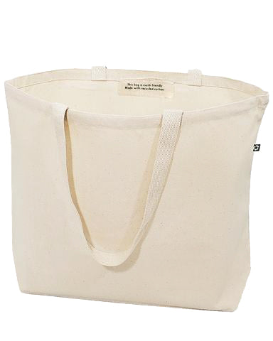 72 ct Large Recycled Cotton Canvas Tote Bags w/Gusset - By Case