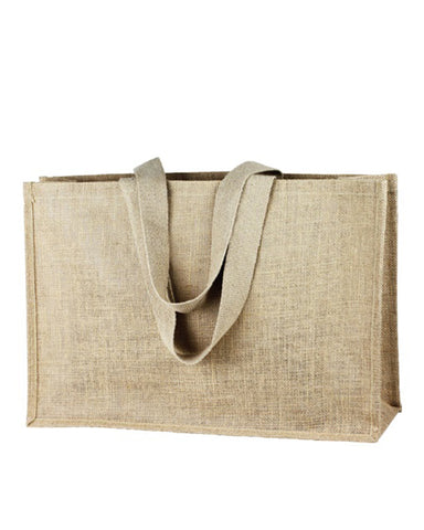 6 ct Extra Large Jute - Burlap Shopping Tote Bags - TJ879 - Pack of 6